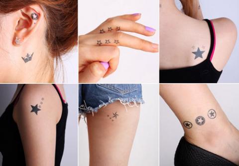 Hình xăm ngôi sao may mắn. Bạn có thể xăm ở dưới tai, ở ngón tay hay ở lưng, ở cánh tay, ở chân.